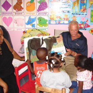 (2011) Harris Rosen visiting one of ten Tangelo Park home childcare facilities.