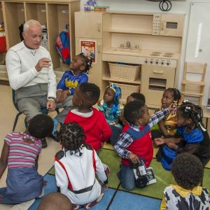 Rosen Reveal — Harris Rosen visits children at the new Rosen Preschool at the new OCPS Academic Center for Excellence (ACE) in the Parramore District in Orlando.